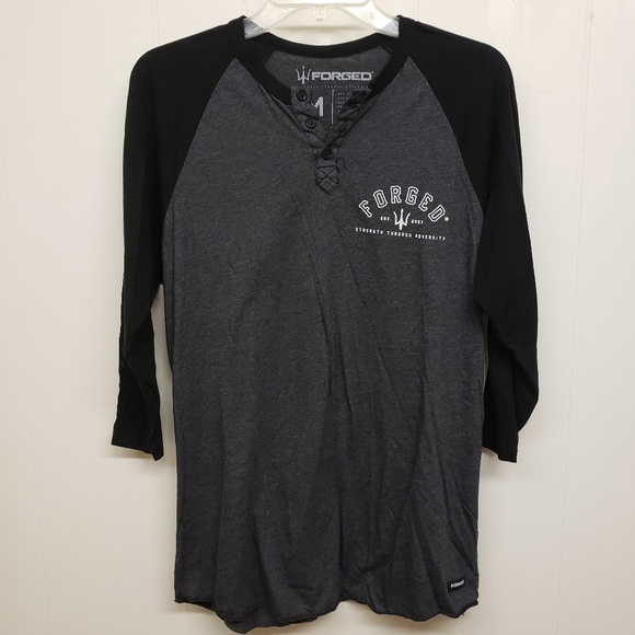 Forged Other - Forged Men's Black & Dark Gray Baseball Style T
